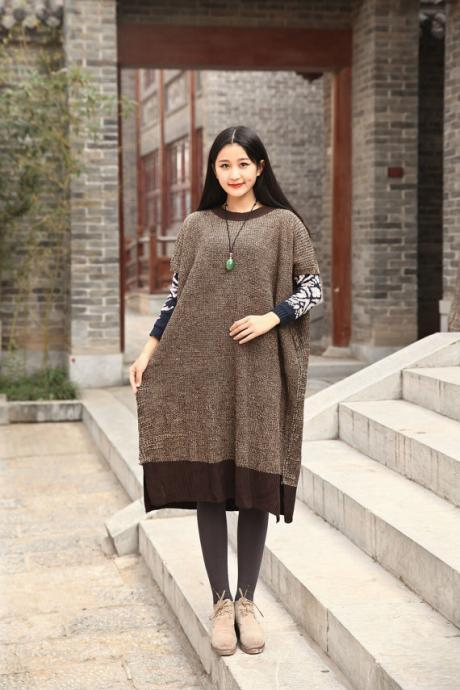 Cotton Sweater Winter sweater dresses Casual loose sweater Short sleeve Autumn sweater Large size dress Winter warm sweater blouse