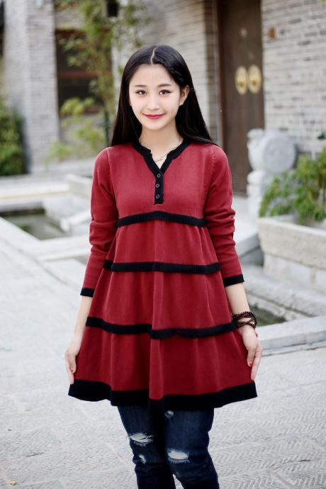 Cotton Sweater Winter sweater dresses Casual loose sweater Autumn sweater Large size dress Winter warm sweater tops